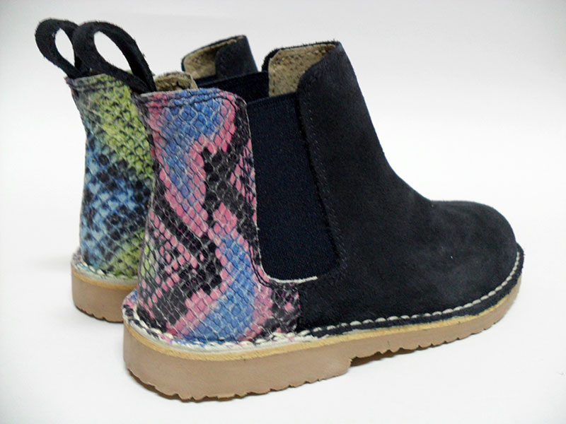 botin animal print azul